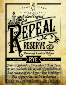 Repeal Day Party @ Great Lakes Distillery | Milwaukee | Wisconsin | United States