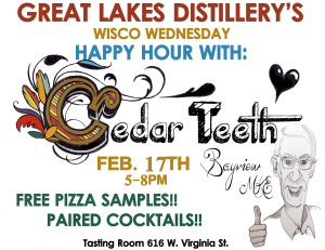 Wisco Wednesdays Happy Hour w/Cedar Teeth Pizza @ Great Lakes Distillery | Milwaukee | Wisconsin | United States