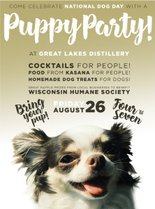 National Dog Day Puppy Party!! @ Great Lakes Distillery